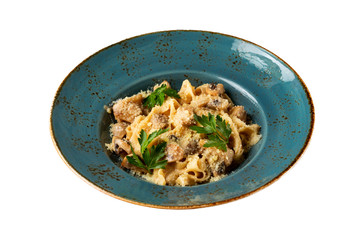 Plate of tagliatelle italian pasta with ceps and cream sauce with parmesan cheese isolated at white background.