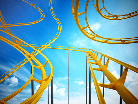 Curvy roller coaster rails in the sky. 3D illustration
