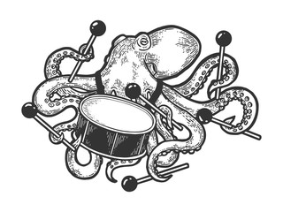 Octopus playing drum sketch engraving vector illustration. Scratch board style imitation. Black and white hand drawn image.