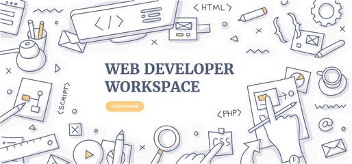 Web Developer Workspace Doodle Background Concept Wall mural