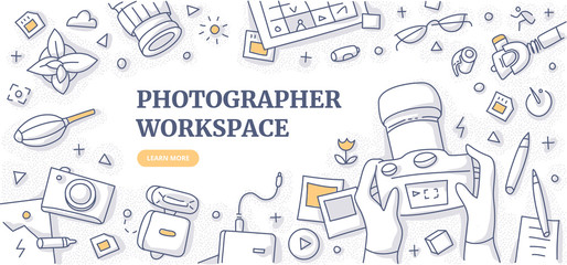 Photographer Workspace Doodle Background Concept Fotobehang