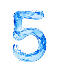 Fototapete - Number 5 made with water splashes, isolated on a white background
