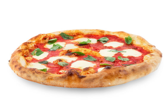 Pizza Margherita on white isolated background. Pizza Margarita with Tomatoes, Basil and Mozzarella Cheese.