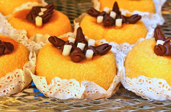 Polenta e Osei, traditional dessert in Bergamo, Italy.