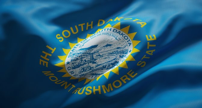 Official flag of the state of South Dakota. United States of America.