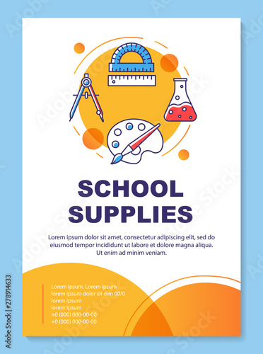 School supplies, tools brochure template layout  Pupil
