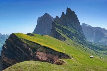 Majestic mountain scenery - Seceda, Dolomites, Italy. Blooing spring mountain slopes. Fototapete