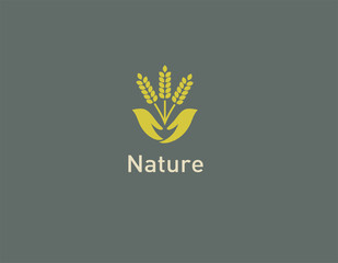 Creative green logo icon three spikelets in human hands agriculture