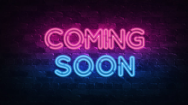 Coming Soon neon sign. purple and blue glow. neon text. Brick wall lit by neon lamps. Night lighting on the wall. 3d illustration. Trendy Design. light banner, bright advertisement