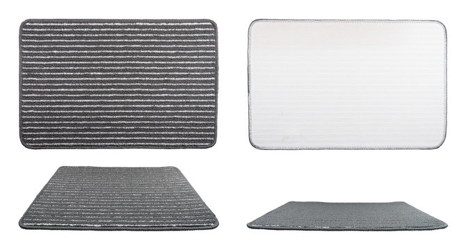 Carpet Isolated on White Background, Top View and Side. Grey Door Mat with Striped Repeated Horizontal Object on White Studio with Clipping Path. Modern Bath Stripy Rug with Gray for Home Interior.