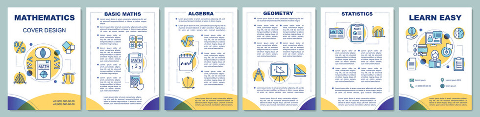 Mathematics lessons brochure template layout. Flyer, booklet, leaflet print design with linear illustrations. Geometry, algebra, statistics. Vector page layouts for magazines, annual reports, posters