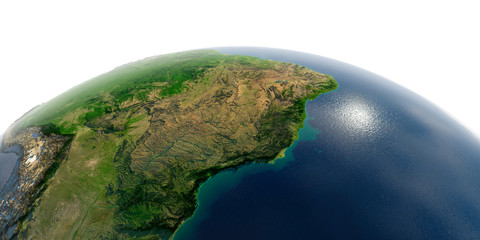 Detailed Earth on white background. East Coast of Brazil