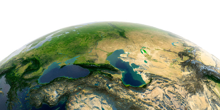 Detailed Earth on white background. Caucasus