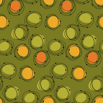 Atomic age 50s vibes concept seamless pattern