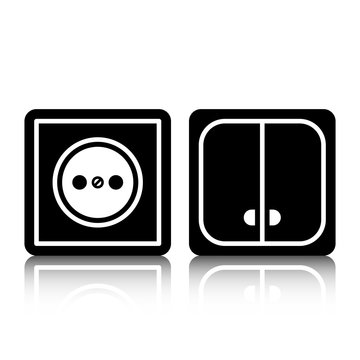 Icon socket and light switch with a mirror shadow