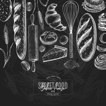Bakery set. Hand drawn bread, loaf, croissant, pretzel, macaron, pie, baguette. Wheatl flour pastry. Chalkboard vector engraved banner. For restaurant and cafe menu, baker shop pasty sweets.