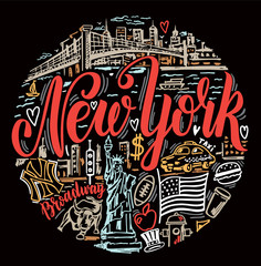 Printed kitchen splashbacks New York TAXI Vector set of New York city. New York landmarks and american traditions symbols vector illustration. For travel card, poster, print design, t-shirt design. Handdrawn conceptual illustration.