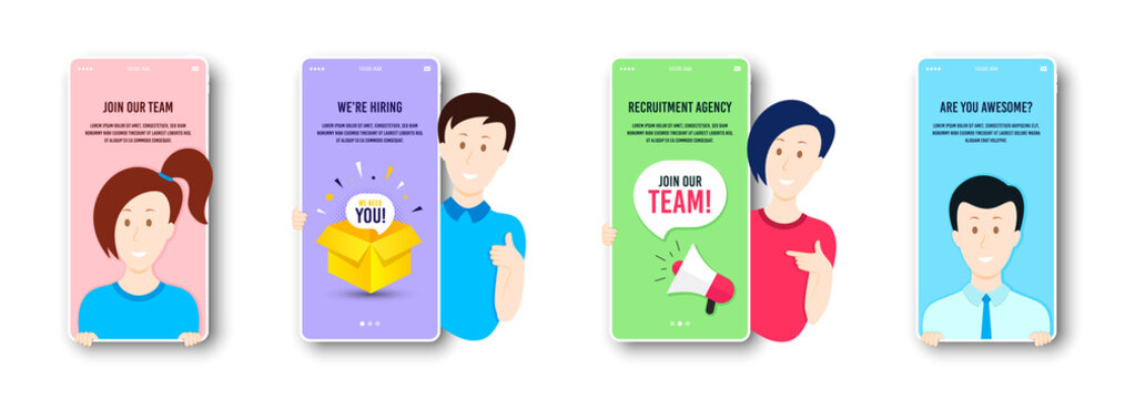 Hiring and recruitment screen set. People searching job vector badges. Online hiring interview, megaphone offer. Recruitment agency service. Mobile app page screen. Join our team bubble. People vector