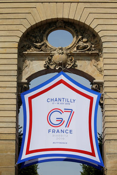 The logo of the G7 finance ministers and central bank governors meeting is seen in Chantilly
