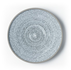 White and grey round ceramic plate with pattern isolated on white background. Top view.