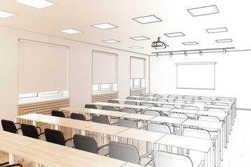 3d illustration. Sketch of the conference hall became a real interior