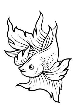 betta fish or Siamese fighter fish line art tattoo design