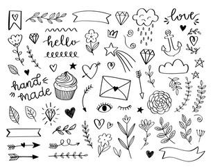 Hand drawn doodle design elements. Cute vectors in cartoon style. Laurel, arrow, stars, heart, crown, hello, love, cloud, ribbon, flower, hand made. Kids vector doodles.
