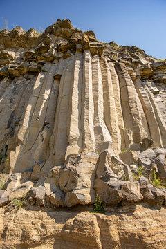 Wall of high basalt columns
