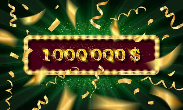 Golden banner 1,000,000 dollars