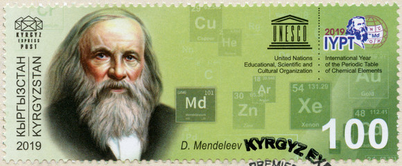 KYRGYZSTAN - 2019: shows  shows Dmitri Mendeleev (1834-1907), international year of the periodic table of chemical elements