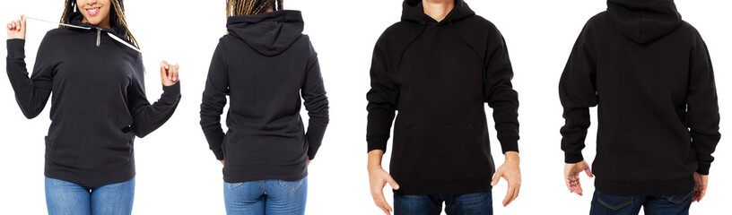 set black hoodie mockup isolated front and back views - man and woman in stylish black sweatshirt mock up isolated over white copy space