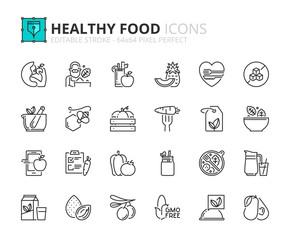 Outline icons about healthy food