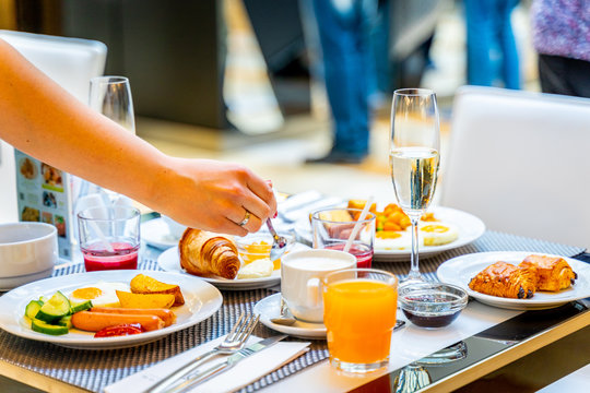 Breakfast Buffet Concept, Breakfast Time in Luxury Hotel, Brunch with Family in Restaurant - Image