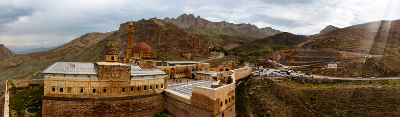 Aerial view of Ishak Pasha Palace is a semi-ruined palace and administrative complex located in the Dogubeyazit, Agri province of eastern Turkey. Ottoman, Persian, and Armenian architectural style