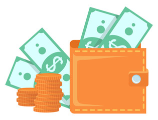 Wall Mural - Brown wallet with two banknotes with dollar sign and two stacks of golden coins. Purse full of money, currency and cash equivalents isolated on white vector
