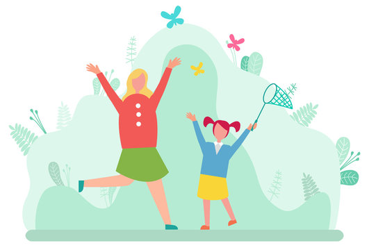 Mother and daughter catching butterflies in net isolated cartoon style happy people. Vector mom and girl spend time together, leisure and pastime on nature