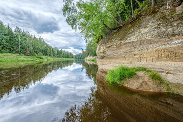 open view to the river of Gauja in Latvia with cloud reflections in water