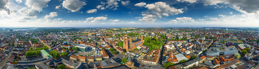 360° aerial sky panorama of worms germany