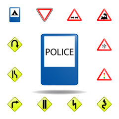 police icon. set of road signs icon for mobile concept and web apps. colored police icon can be used for web and mobile