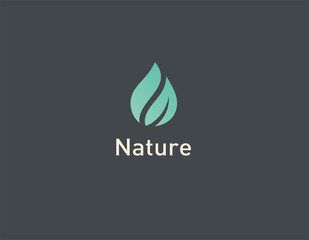 Creative Green Abstract Geometric Logo Icon Water Drop and Plant Leaf