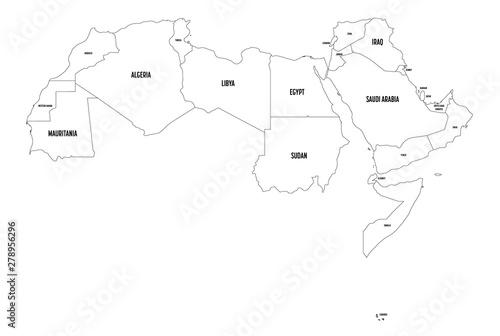 Arab World states political map  22 arabic-speaking