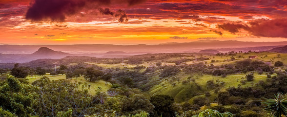 Aluminium Prints Orange Glow Sunset in Santa Rosa in Costa Rica