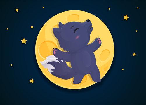 Werewolf cartoon that transforms into a fox on the full moon night.