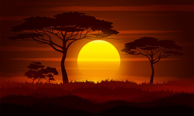 Sunset in Africa. Savanna landscape, vector illustration.