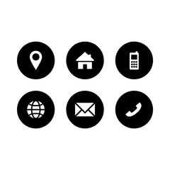Set of black and white contact icon