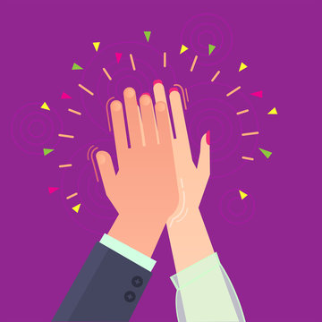 Vector symbols with hands_Give five joy victory high result friends partners team woman