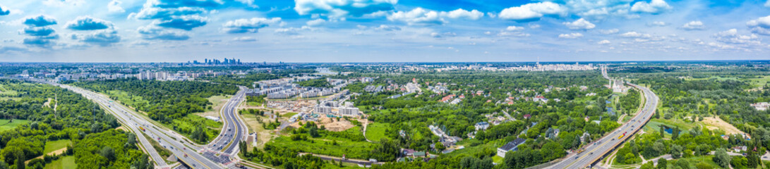 Aerial view of Warsaw, capital of Poland stock