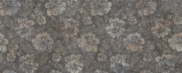 vintage floral gray background with flowers