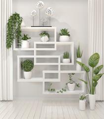 Mock up plants on shelf design wall minimal design.3D rendering