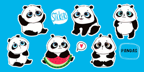 Keuken foto achterwand Retro sign Cute little panda bears with big eyes in various poses. Hand drawn vector set. Pre-made stickers. Flat design. Trendy illustration. All elements are isolated